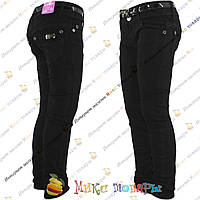 Чёрные школьные котоновые брюки для девочки от 6 до 11 лет (2-008)