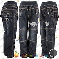 Детские Черные джинсы для мальчика с Флисом от 3 до 8 лет (3737)