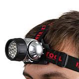 Фонарь налобный светодиодный четыре режима работы 19 LED батарейки 3 ААА INTERTOOL LB-0301, фото 8