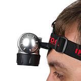 Фонарь налобный светодиодный четыре режима работы 19 LED батарейки 3 ААА INTERTOOL LB-0301, фото 9