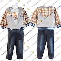Весенний костюм с капюшоном и джинсовыми брюками для мальчика от 1 до 4 лет (806)