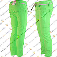 Детские салатовые брюки с плетённым поясом от 3 до 8 лет (4184-2)