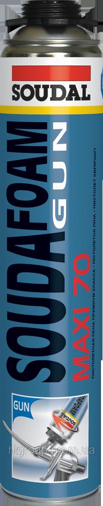 """Монтажная пена Soudafoam Gun Maxi 70 L пистолетная Soudal, 850 мл - Интернет магазин строительных материалов """"ХЛ ГРУП"""" в Киеве"""