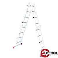 Лестница алюминиевая мультифункциональная трансформер 4*4ступ. 4.75м (LT-0029)