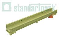 Лоток водоотводной StandartPark 1000х140х100 класс нагрузки: A – C полимербетонный с вертикальным водоотводом (703009)