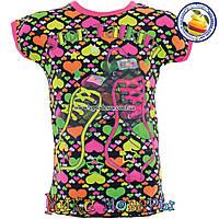 Яркие летние футболки с кроссовками для  девочек от 1 до 4 лет (4411)