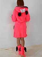 Женский короткий махровый халат с ушками Микки