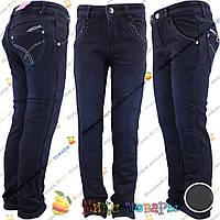 Тёмно синие джинсы с флисом для девочек от 5 до 10 лет (vn3713)