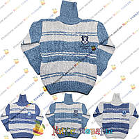 Тёплый вязанный свитер Двойная вязка для мальчика от 5 до 10 лет (3804)