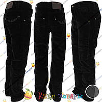 Черные вельветовые брюки с флисом для мальчика от 8 до 11 лет (3855)