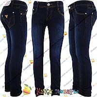 Синие джинсы с желтой ниткой для девочек от 7 до 11 лет (4086)