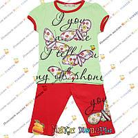 Летний костюм с бриджами Салатового цвета для девочки от 1 до 5 лет (4095-1)