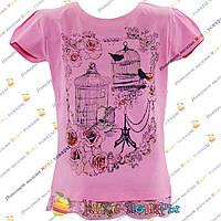 Детская футболка с гипюром для девочек от 5 до 9 лет (4102-1)