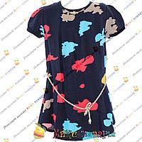 Синяя летняя блузка с разводами для девочек от 8 до 14 лет (4162-3)