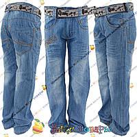 Облегчённые джинсы с поясом для мальчика от 7 до 12 лет (4179)