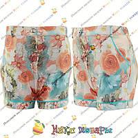 Стрейчевые шорты с цветами для девочек от 7 до 12 лет пр- во Турция (4241-3)