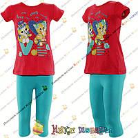 Костюмы футболка и капри с котятами для девочек от 2 до 6 лет Турция (4258-2)
