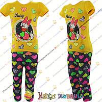 """Турецкий костюм с уточкой """"Поночка"""" футболка и капри для девочек от 5 до 8 лет (4259-3)"""