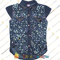 Летняя джинсовая рубашка без рукава для девочек Размер: 8 лет (4296)