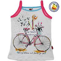 Детские майки белые с велосипедом Возраст: от 5 до 8 лет (4340-1)