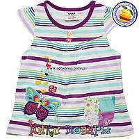 Летнее платье в полоску и с вышивкой для малышей Возраст: 12- 18 месяцев Один Размер (4374)
