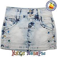 Светлая джинсовая юбка с камушками для девочек от 7 до 14 лет (4391)