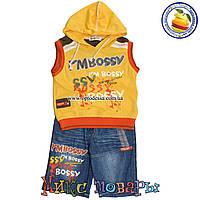 Жилетка с капюшоном и джинсовые шорты для мальчика от 3 до 8 лет (4394-2)