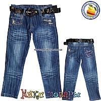 Синие джинсы с ремнём для девочек от 7 до 12 лет (4436)