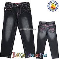 Чёрные джинсы для девочек с добавлением стрейчевой ткани и регулятором пояса от 7 до 12 лет (4437)