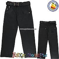 Классические черные коттоновые джинсы с регулятором пояса для мальчика от 6 до 10 лет (4440)