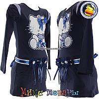 Тёмное платье с кошечкой длинный рукав от 3 до 8 лет (4448-2)