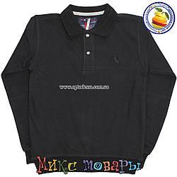 Чёрная школьная кофта Ткань Лакоста для мальчика от 8 до 14 лет (4501)