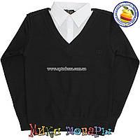 Батник с Рубашкой Обманка черного цвета бренд Гучи для мальчика от 10 до 15 лет (4514)