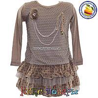 Детское платье с длинным рукавом от 5 до 8 лет (4525)