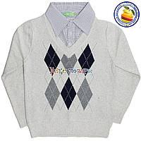 Батник кашемировый с имитацией рубашки Обманка для мальчика от 6 до 9 лет (4535)