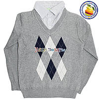 Кашемировый батник с имитацией рубашки Обманка для мальчика от 6 до 9 лет (4534)