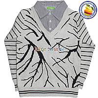 Кашемировый батник с имитацией рубашки для мальчика от 6 до 10 лет (4537)