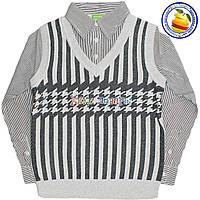 Батник Обманка с имитацией рубашки для мальчика от 6 до 9 лет (4538)