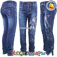 Синие джинсы с девочкой и стразами от 6 до 11 лет (4544)