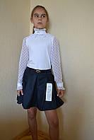 Блузка на девочку в школу под горло 116-146