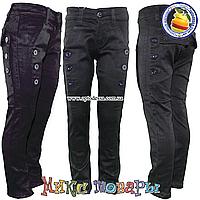 Черные атласные джинсы для девочек от 6 до 11 (4554)