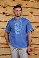 Чоловіча рубашка-вишиванка с коротким рукавом волошкова