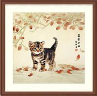 """Набор для вышивания """"Котик и листья"""" XIU CRAFTS"""