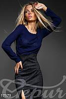 Стильная женская блуза свободного фасона в полупрозрачную клеточку рукав длинный шифон Шанель