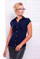 Офисная синяя блузка - рубашка с короткими рукавами Альфа 42-50 размеры