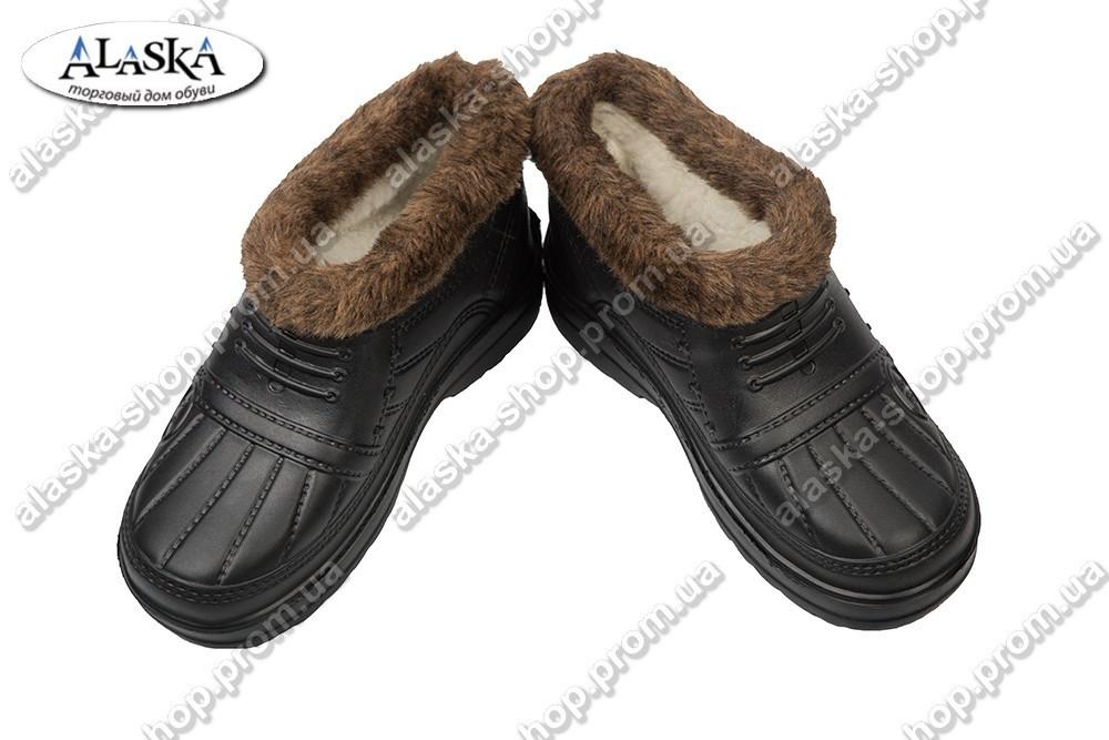 Мужские меховые галоши черные (Код: ГП-04 мех)