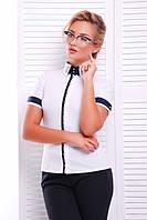 Стильная белая блузка - рубашка с короткими рукавами Омега 42-50 размеры