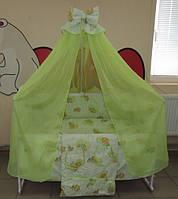 Детское постельное белье в кроватку салатовое Мишки клетка Gold 9в1 120х60см