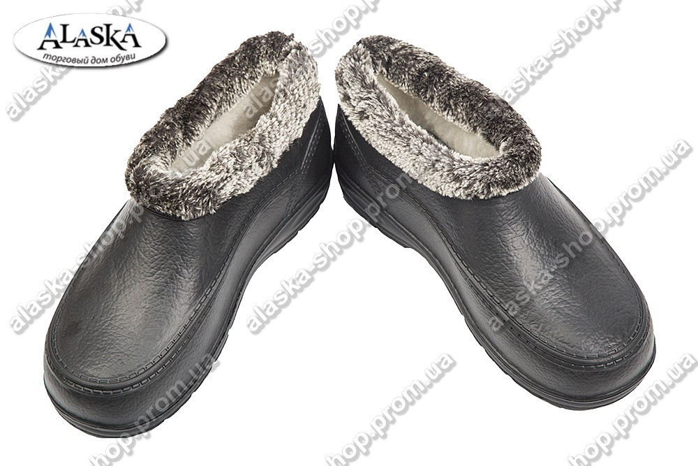 Галоши меховые женские черные (Код: ГП-11 мех жен)