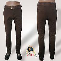 Джинсы-брюки зауженные коричневого цвета с ремнём